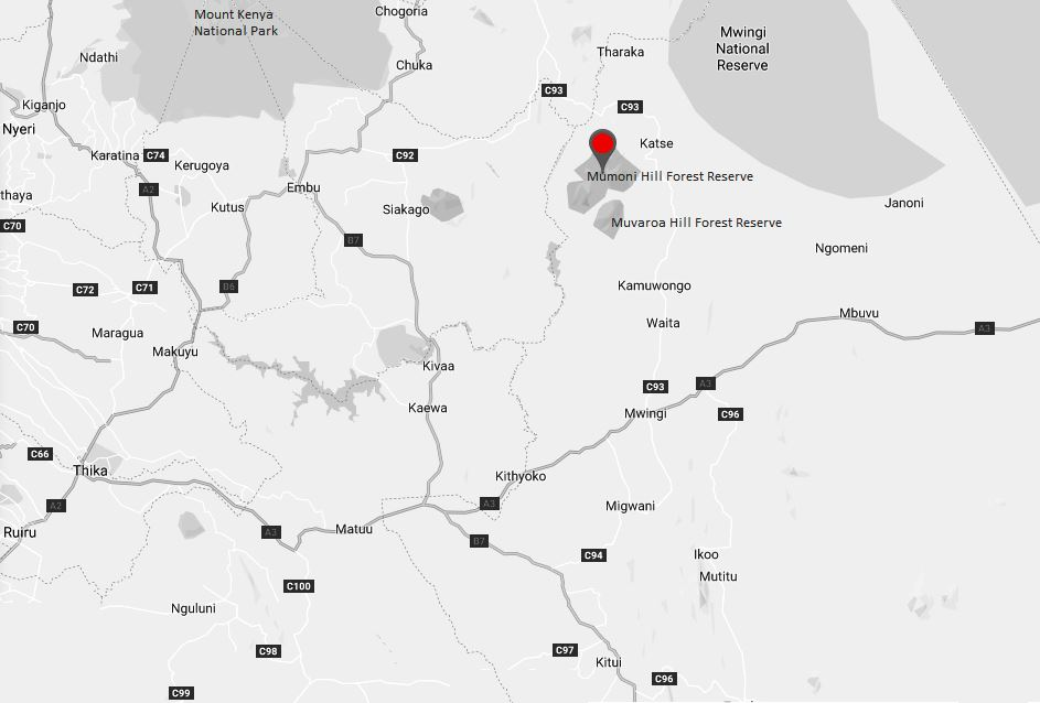 Spatial Location of Mumoni Hill Forest Reserve in Kitui County