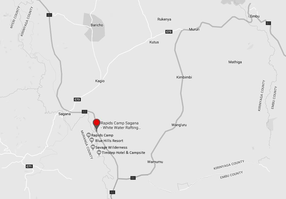 Spatial Location of Rapid Camp Sagana in Kirinyaga County