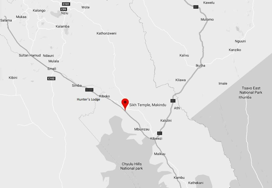 Spatial Location of Sikh Temple, Makindu in Makueni County