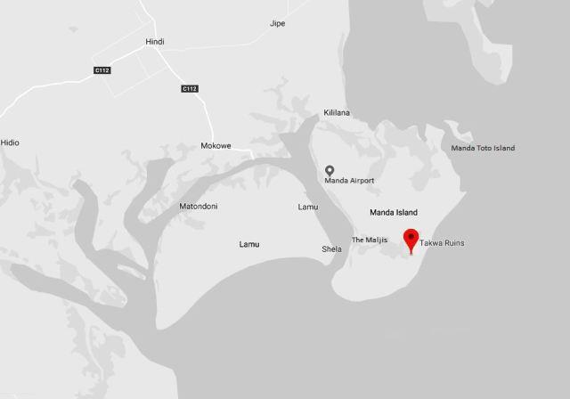 Spatial Location of Takwa Ruins on Manda Island