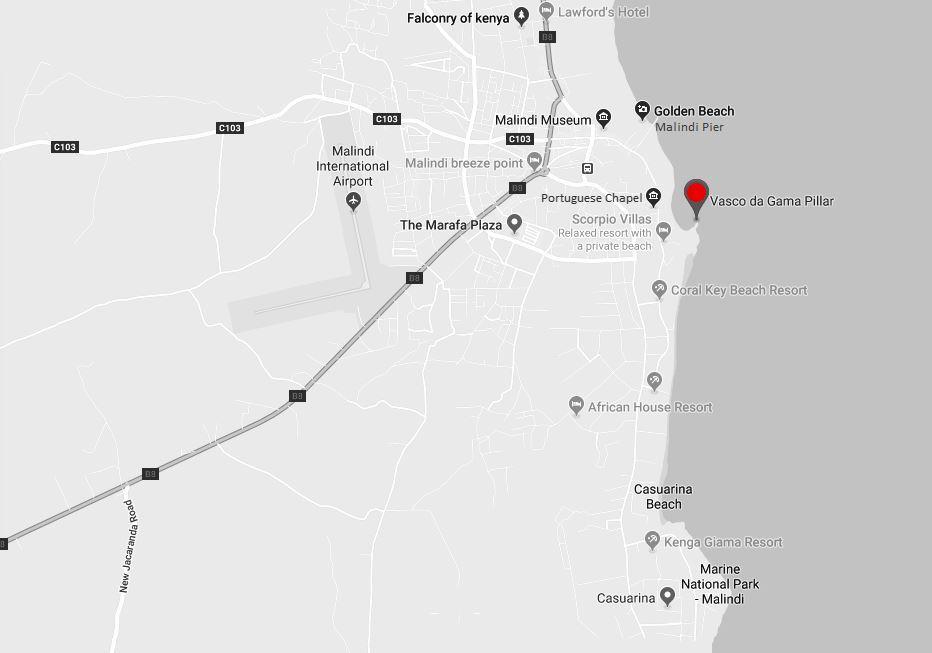 Spatial Location of Vasco da Gama Pillar in Malindi, Kilifi County
