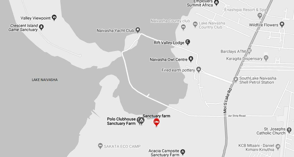Spatial Location of Sanctuary Farm near Lake Naivasha