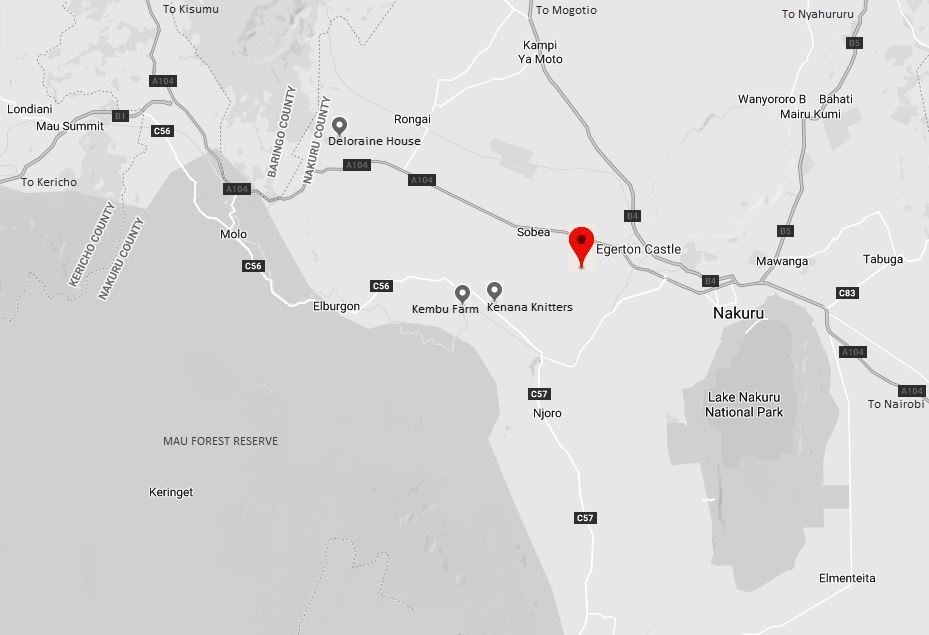 Spatial Location of Lord Egerton Castle at Ngata in Nakuru County