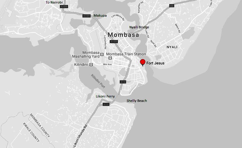 Spatial Location of Fort Jesus in Mombasa County