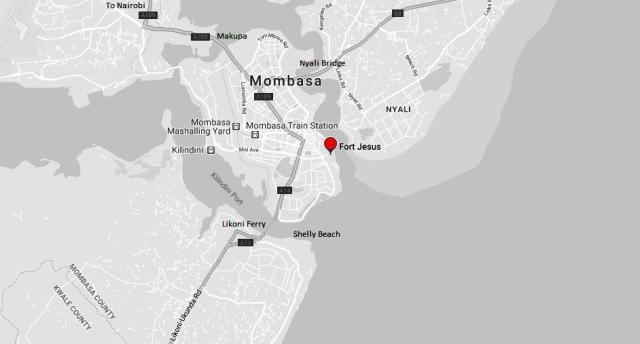 Spatial Location of Fort Jesus Museum on Mombasa Island