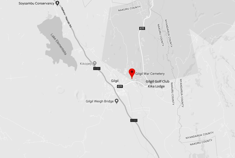Spatial Location of Gilgil War Cemetery near Gilgil Town