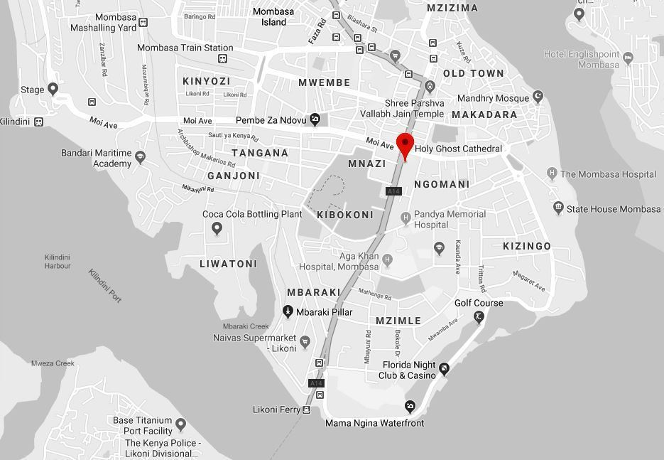 Spatial Location of Holy Ghost Cathedral on Mombasa Island