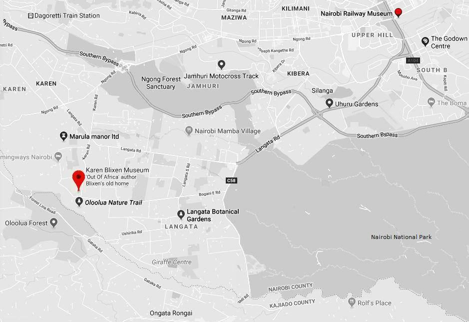 Spatial Location of Karen Blixen Museum in Nairobi County