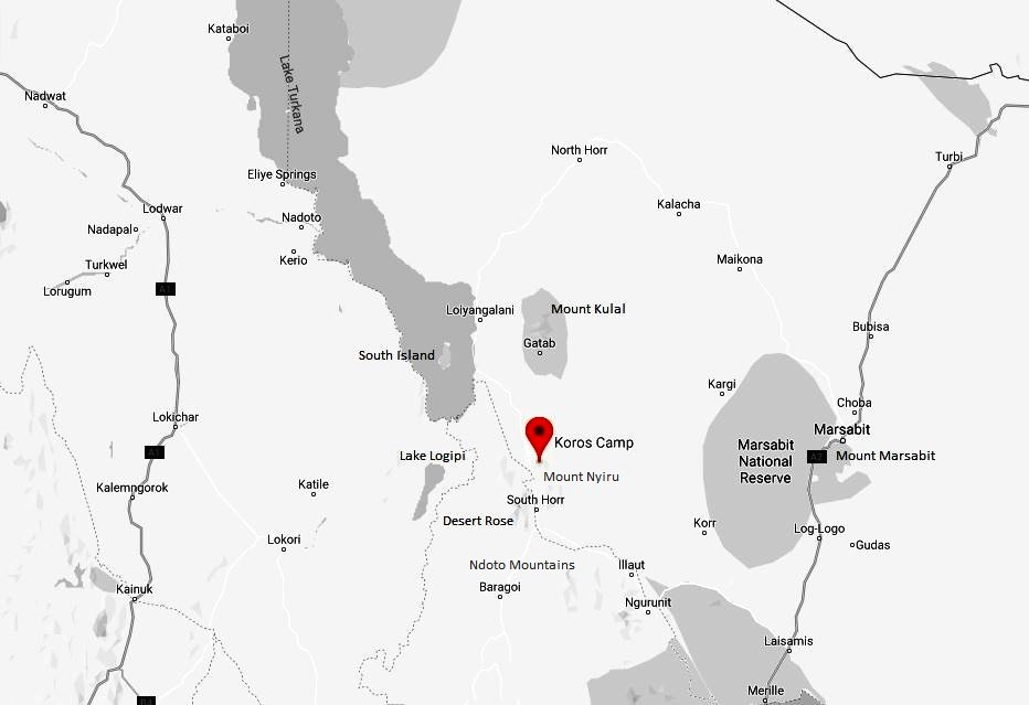 Spatial Location of Koros Camp in Marsabit County