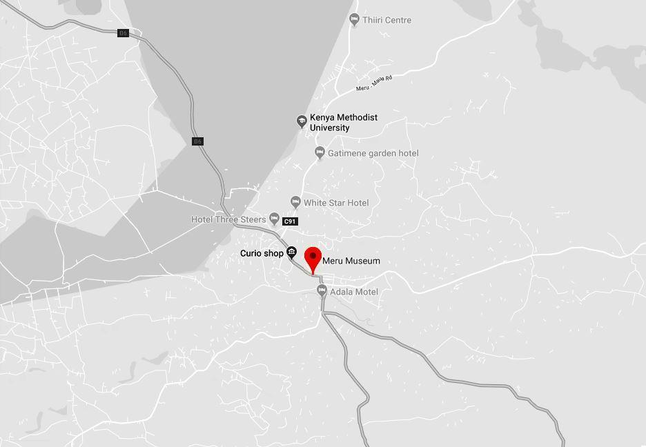 Spatial Location of Meru Museum in Meru Town