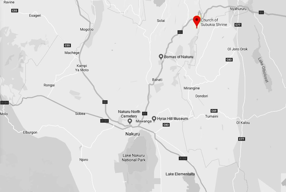 Spatial Location of the Church at Subukia Shrine in Nakuru County