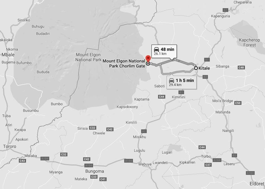 Distance between Kitale and Chorlim Gate to Mount Elgon National Park