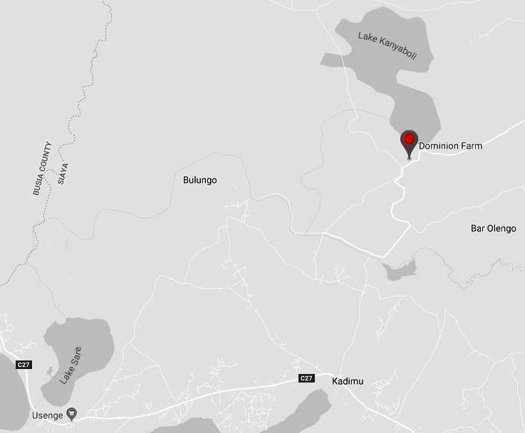 Location of Dominion Farm nearby Lake Kanyaboli in Siaya County