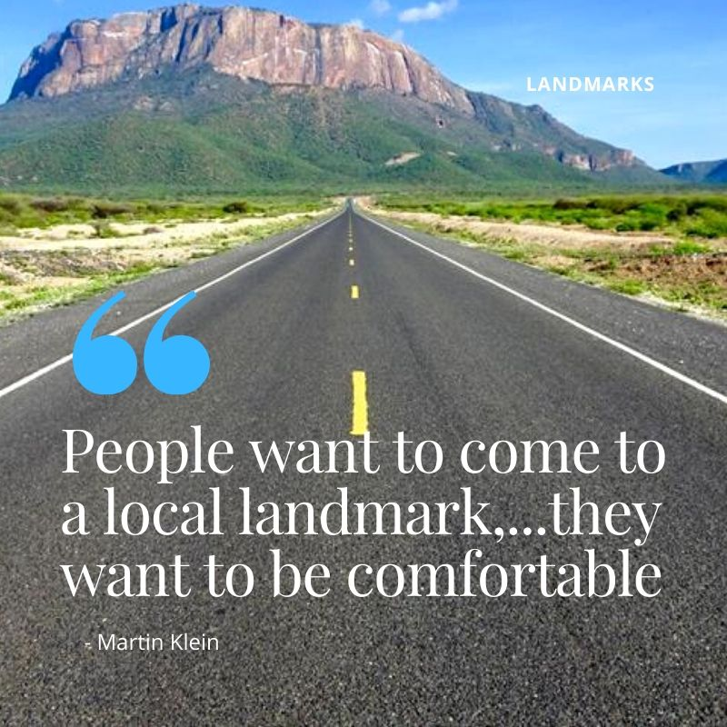 """Travel Quote - """"People want to come to a local landmark,...they want to be comfortable"""" - Martin Klein. A Guide to Landmarks in Kenya"""