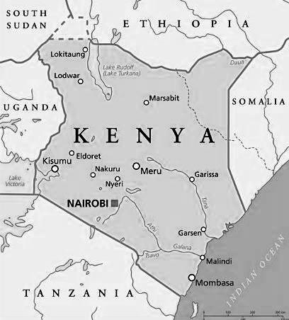 Political Map of Kenya.  Photo Courtesy
