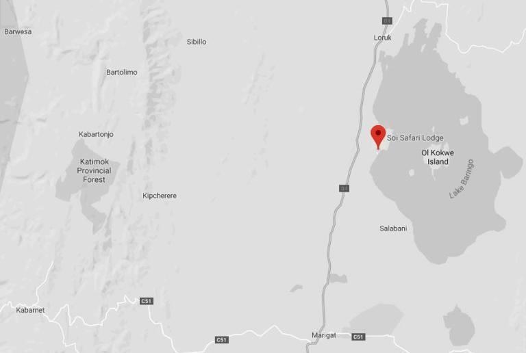 Spatial Location of Soi Safari Lodge at Lake Baringo
