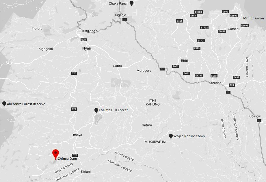 Spatial Location of Chinga Dam in Nyeri County