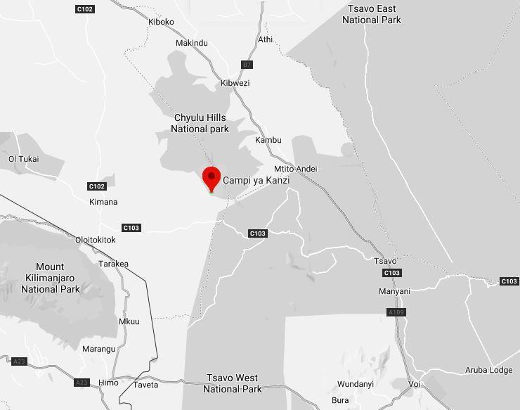 Spatial Location of Kampi ya Kanzi at Chyulu Hills National Park