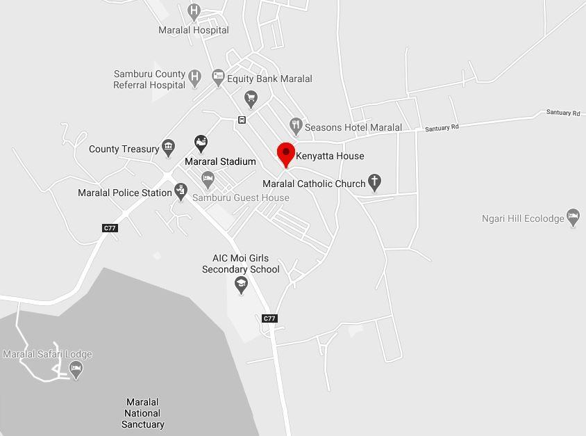Spatial Location of Kenyatta House at Maralal Town