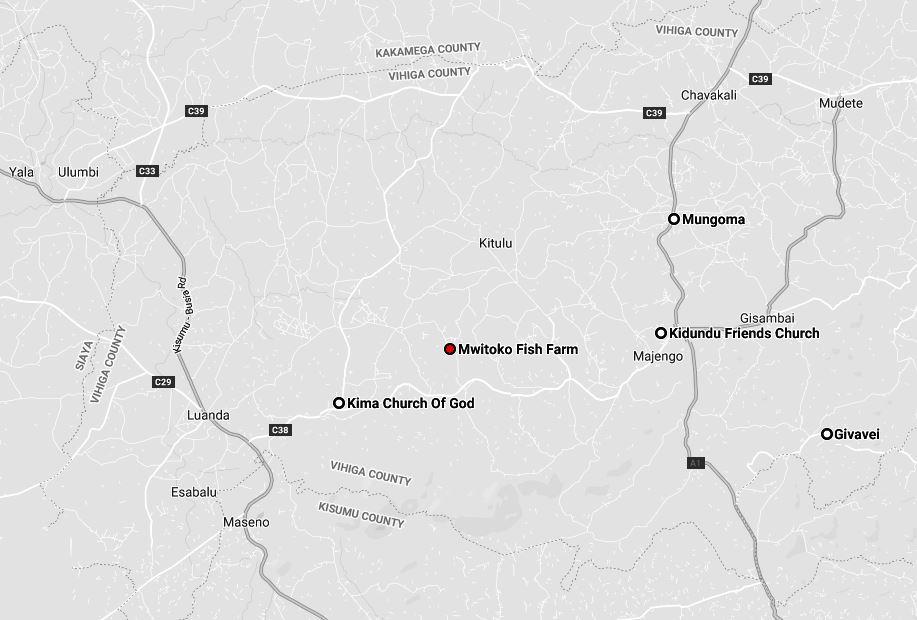 Spatial Location of Mwitoko Fish Farm in Vihiga County