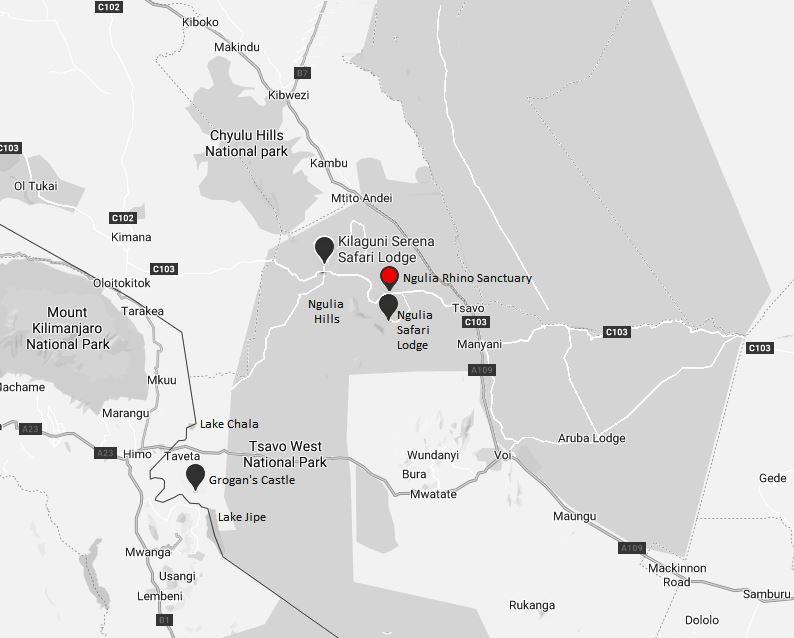 Spatial Location of Ngulia Rhino Sanctuary in Tsavo West