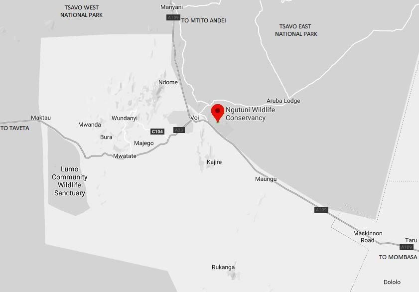 Spatial Location of Ngutuni Wildlife Conservancy in Taita Taveta County