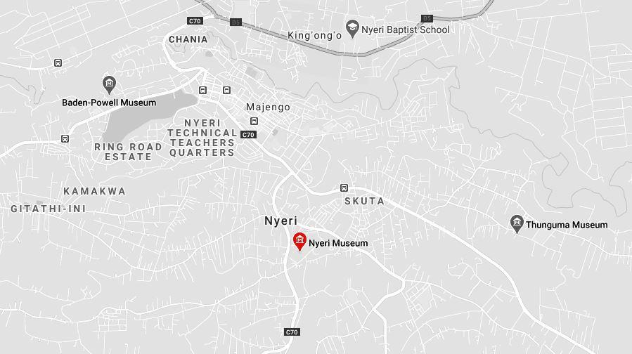 Spatial Location of Nyeri Museum in Nyeri County