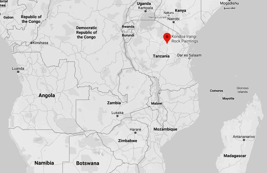 Spatial Location of Kondoa Rock Art Site, Tanzania