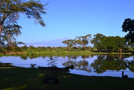 Mount Kilimanjaro from the Sante River within the Voyager Camp