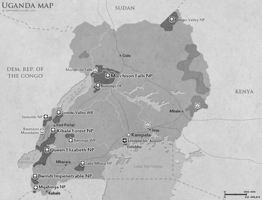 Detailed Map of Uganda National Parks - Uganda Map - Safari Bookings