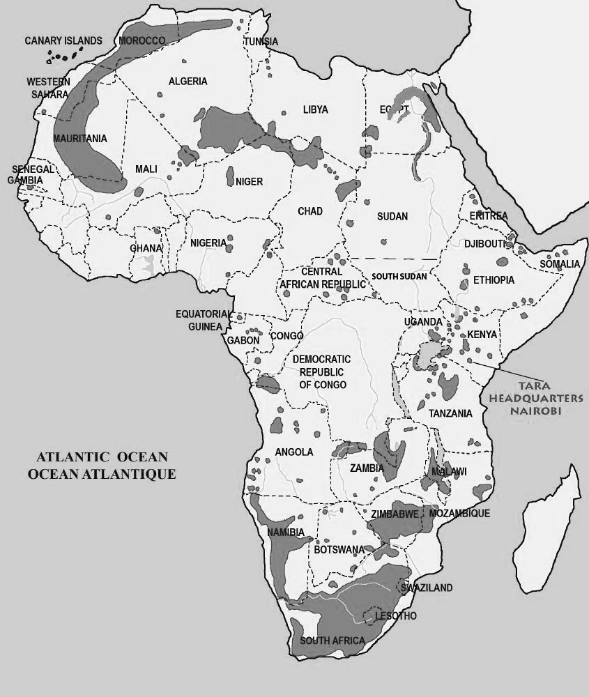 Map of Rock Art Distribution in Africa