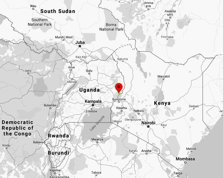 Spatial Location of Mount Elgon National Park in western Uganda