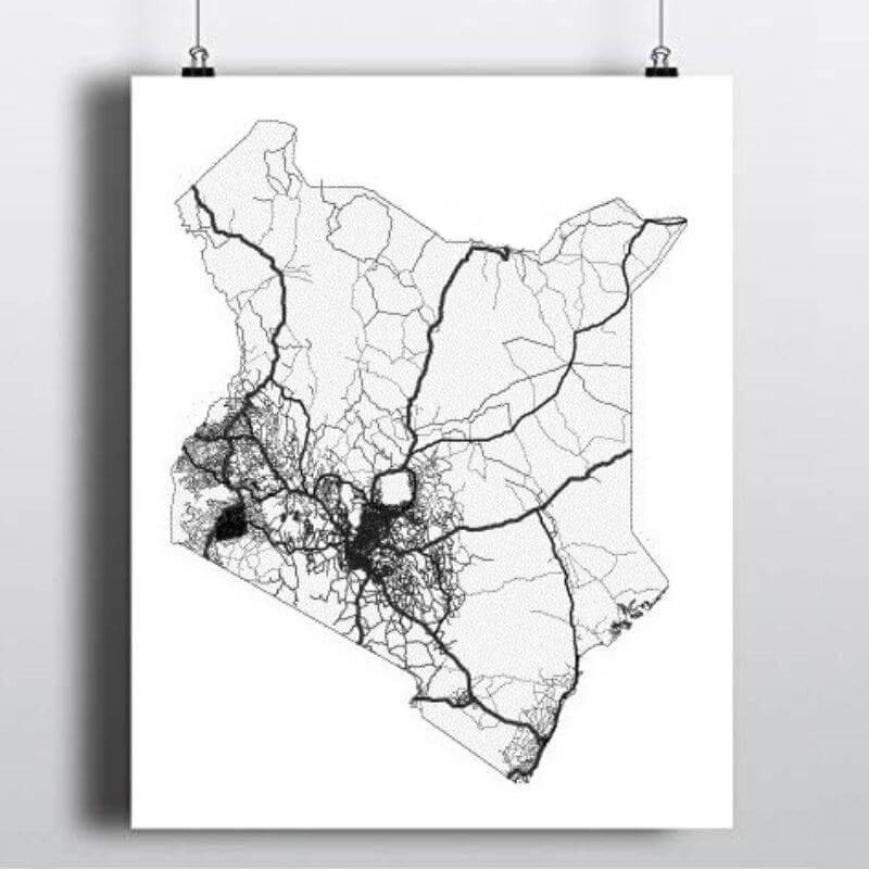 Portrait of the road map of Kenya