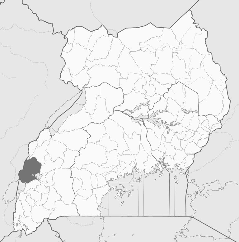 Spatial location of Kasese District in Uganda. Image courtesy of Wikipedia