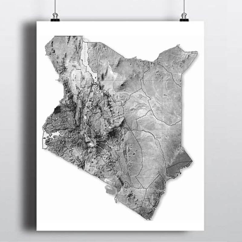 Topography and terrain map of Kenya