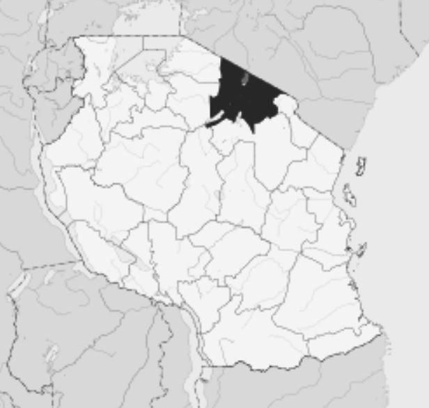 Spatial Location of Arusha-Moshi Region in Tanzania