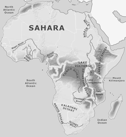 Image of the physical features and geography of Africa