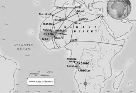 Major routes of the Trans-Saharan trade of West, East and North Africa