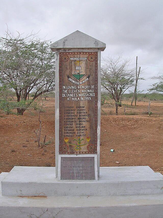 The Hola Massacre Monument at Hola. Image Courtesy of WikiWand