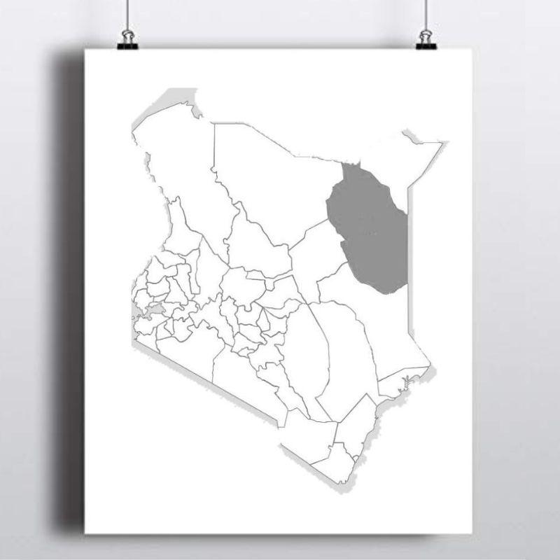 Spatial Location of Wajir County (Somali: Gabolka Wajeer) in Kenya.