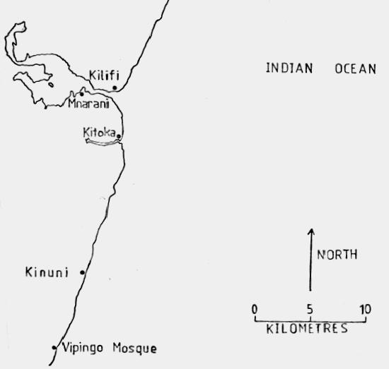 Sites along Lower Coast of Kilifi. Image Courtesy of Thomas Wilson